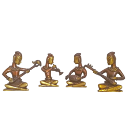 Group Of Multi Musucian Sartharji Playing a Traditional Instruments In Brass Showpiece size - 1.5x4In - 1.5x4