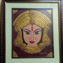 Maa Durga relief clay work size - 20x24In - 20x24