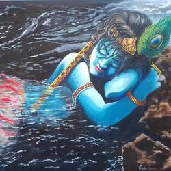 Krishna with Jamuna river size - 35x24In - 35x24