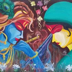 Goddess Krishna & Mira size - 35x25In - 35x25