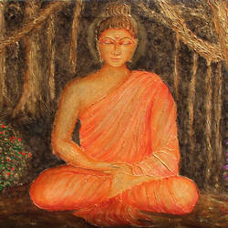 Buddha under tree size - 24x18In - 24x18