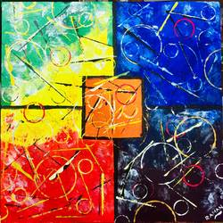 Abstract Painting with Acrylic size - 18x18In - 18x18
