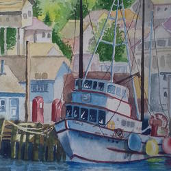 Boat painting. size - 15x21In - 15x21