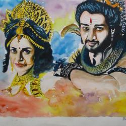 Shiv &Parvati size - 13x19In - 13x19