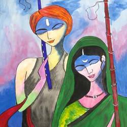 Radha Krishna size - 14x22In - 14x22