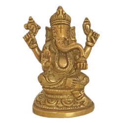 Brass Idol Of Lord Ganesha Holding Sangu Statue size - 4x3In - 4x3