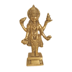 Lord Dhanvantri idol in Brass Holding the Pot Of Amrit Statue size - 5x3.5In - 5x3.5