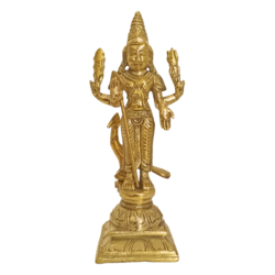 Lord Murugan sculpture With Vel & Peacock in Brass size - 6x3In - 6x3