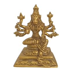 Religious God Of Varaha Seated in Brass Statue size - 4.5x4In - 4.5x4