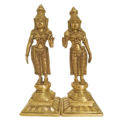 Brass Pair Of Devi's God Statues size - 10x7In - 10x7