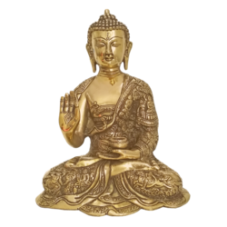 Blessing Buddha In Antique Finish Brass Statue size - 11.5x9In - 11.5x9