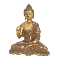 HandCurved Brass Brown Coated Buddha Statue size - 13x10In - 13x10