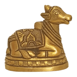 Small God Brass Nandhi Statue size - 3x2.5In - 3x2.5