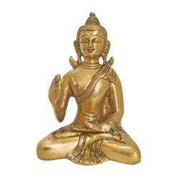 Meditating Gautam Buddha in Brass statue size - 5.5x4In - 5.5x4