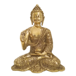 Antique Finish Meditating Buddha Brass Statue size - 10x7.5In - 10x7.5
