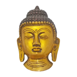 Brass Buddha Wall Hanging with Brown Coated Showpiece size - 5x3In - 5x3