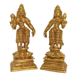 Brass Lakshmi Standing With Holding Lotus Bud Statue size - 4x3In - 4x3