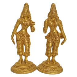 Pure Brass Statue Pair of Lakshmi Holding Lotus Bud Statue size - 5.5x4In - 5.5x4