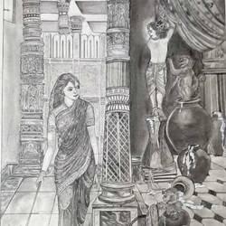 yashodha with krishna affection size - 16.5x23.4In - 16.5x23.4