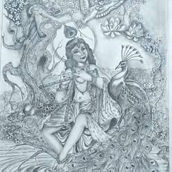 krishna art size - 11.6x16.5In - 11.6x16.5