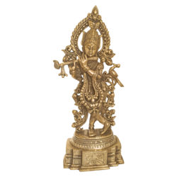 Decorative Brass Krishna Playing Flute Statue  size - 2.5x13.5In - 2.5x13.5