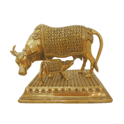 Amazing Handcurved Kamadhenu With Calf  Brass Showpiece size - 6.5x8.5In - 6.5x8.5