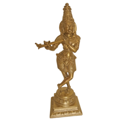 Bangalore Bronze Sri Krishna with Flute Statue size - 2.5x8.5In - 2.5x8.5