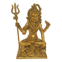 Brass Lord Shiva Lingam With Sulayutham Statue size - 3.5x9In - 3.5x9