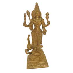 Decorative Bangalore Brozne Murugar Statue size - 2.5x8.5In - 2.5x8.5