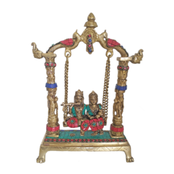Amazing Brass Radha Krishan in Julla With Flute Multi Stone Work Showpiece size - 3x11In - 3x11