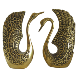 Antique Finished Brass Pair Swan Showpiece size - 1x9In - 1x9