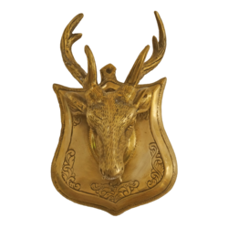Well Desinged Large Vintage Deer Head In Brass Wall Hanging size - 7x6.5In - 7x6.5