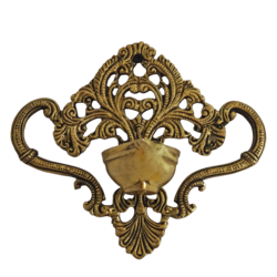 Decorative Brass Diya Wall Hanging Showpiece size - 2.5x6In - 2.5x6