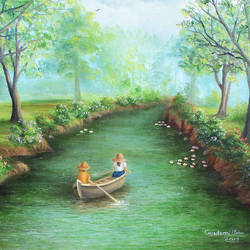 Forest Boating Landscape Painting size - 24x18In - 24x18