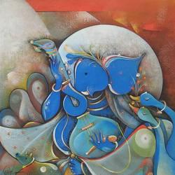 Musician Ganesha size - 18x18In - 18x18