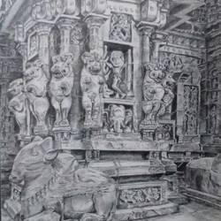 Kanchi Kailasanathar Sculptures Charcoal size - 13x17In - 13x17