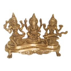 Brass Ganesha With Goddess Lakshmi And Saraswathi Statue size - 4x7.5In - 4x7.5