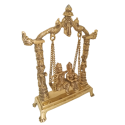 Musical Krishna Sitting With Radha in Julla and Playing Flute Brass Statue size - 2.5x11.5In - 2.5x11.5