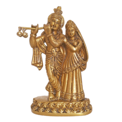 Romancing Lord Radha Krishna Playing Flute Brass Statue size - 1x6.3In - 1x6.3