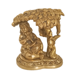 Cute Baby Krishna Under the Tree With Pot Of Butter Brass Statue size - 1.5x4In - 1.5x4