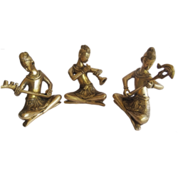 Group Of Brass Multi Musucian Sartharji Playing a Traditional Instruments Showpiece size - 2x6.5In - 2x6.5