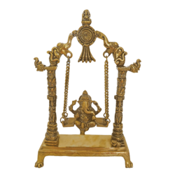 Religious God Ganesha Murti Sitting on Elephant Head Julla Brass Statue size - 3x13.5In - 3x13.5
