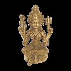 Goddess Regilious Brass Durga Holding A Pot Statue  size - 2x9In - 2x9