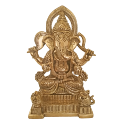 Holy God Shri Ganesha Sitting With Mouse and Kalasam Brass Statue size - 4x8In - 4x8