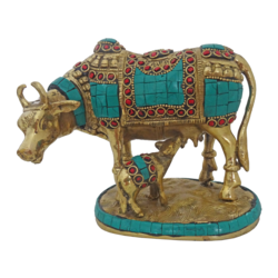 Beautiful Kamdhenu Brass statue with Calf and Multi Colour Stone Work size - 2x5In - 2x5