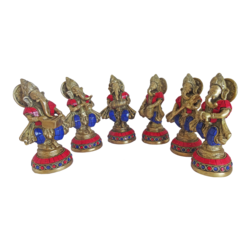 Set of 6 Multi Musician Stone Work Ganesha Brass Idol Showpiece size - 2x6In - 2x6