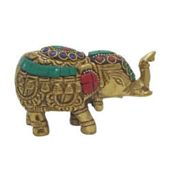 Pair of  Brass Elephant Trunk Up Multi colour Stone Work Statue  size - 1x2.5In - 1x2.5