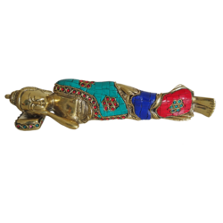 Brass Sleeping Buddha Multicolour Stone Work Statue  size - 1x10In - 1x10