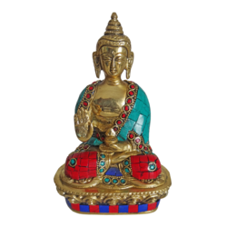 Brass Meditating Buddha Statue Multicolour Stone Work size - 1x7.5In - 1x7.5