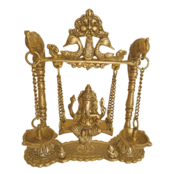 Brass Lord Ganesha Sitting in Peacock Julla With Diya size - 2x9In - 2x9